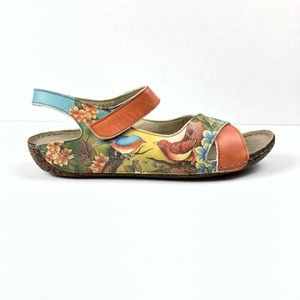 Anuschka | Floral And Birds Leather Sandals
